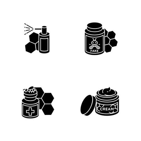 Natural bee products black glyph icons set on white space. Propolis mouth spray, fake honey, apitherapy and honey skin care. Beekeeping, apiculture silhouette symbols. Vector isolated illustrations