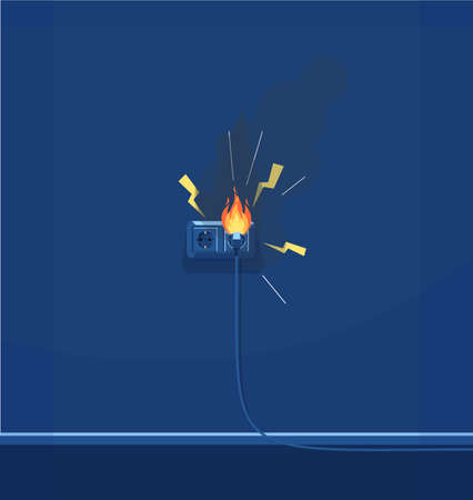 Electrical short circuit semi flat RGB color vector illustration. Electrical equipment. Faulty wiring. Electricity and fire protection isolated cartoon object on dark blue background