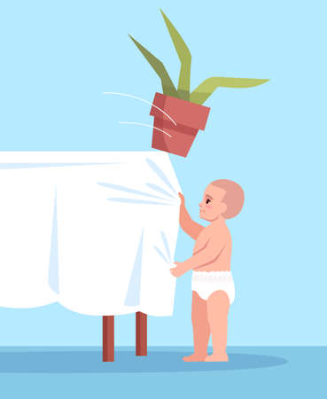 Curious child pulls tablecloth with flower semi flat RGB color vector illustration. Unsafe environment. Accidental childhood injuries at home isolated cartoon character on blue background