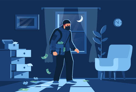 Night bulgar intrusion into apartment semi flat vector illustration. Bandit figure on window background. Money and precious jewelry stealing 2D cartoon character for commercial use Vetores