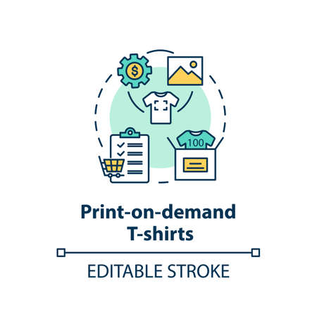 Print on demand T shirts concept icon. Fashion marketplace, online business idea thin line illustration. Customizable clothing service. Vector isolated outline RGB color drawing. Editable stroke