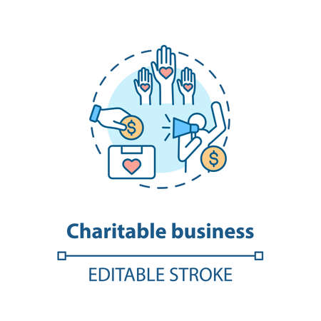 Charitable business concept icon. Investment in non profit organizations idea thin line illustration. Social cause support and contribution. Vector isolated outline RGB color drawing. Editable stroke