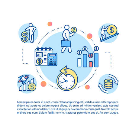 Business investment concept icon with text. PPT page vector template. Financial management, economic literacy. Stock market trading brochure, magazine, booklet design element with linear illustrations