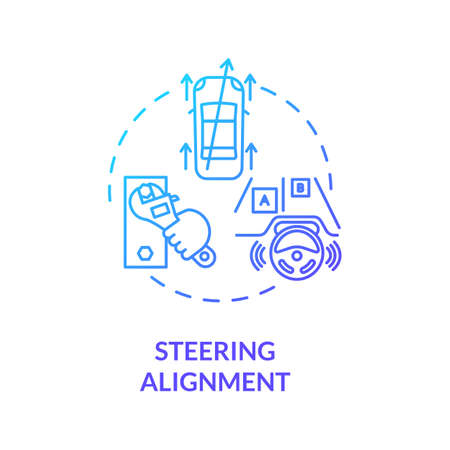 Steering alignment concept icon. Road test car. Pre-alignment inspection and full automobile diagnotics idea thin line illustration. Vector isolated outline RGB color drawing