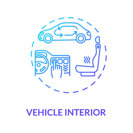 Vehicle interior concept icon. Comfortable car idea thin line illustration. Car interior detailing. Door panels, upholstery, heater. Vector isolated outline RGB color drawing