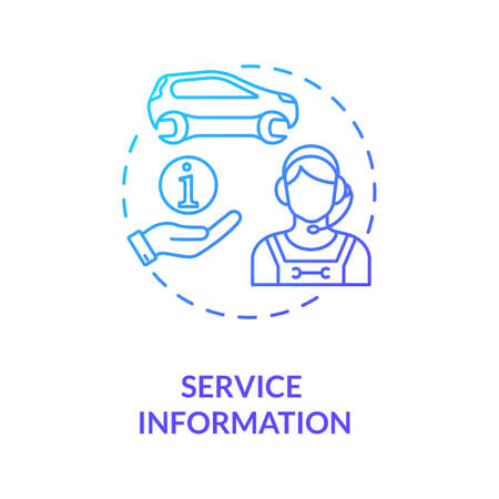 Service information concept icon. Contact center. Communication with autoservice and mechanics idea thin line illustration. Vector isolated outline RGB color drawing Vektorgrafik