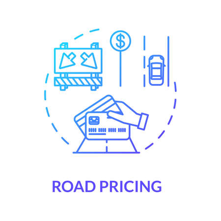 Road cost concept icon. Distance and time based fees. Highway user charges idea thin line illustration. Travel demand management. Vector isolated outline RGB color drawing