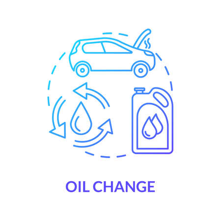 Oil change concept icon. Engine filter changing. Regular oil replacement idea thin line illustration. Car gas mileage improvement. Vector isolated outline RGB color drawing