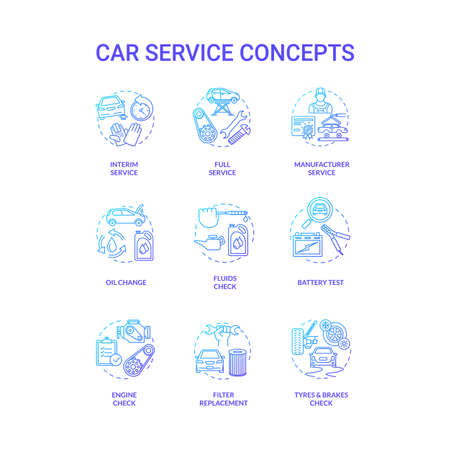 Car service concept icons set. Manufacturer service, air and oil filters replacement, battery check idea thin line RGB color illustrations. Vector isolated outline drawings