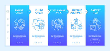 Full service automotive onboarding vector template. Engine, tyres check. Steering alignment. Responsive mobile website with icons. Battery test. Webpage walkthrough step screens. RGB color concept Иллюстрация