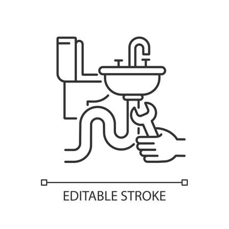Plumbing installation linear icon. Home plumbing. Renovation. Toilet and sink installations. Thin line customizable illustration. Contour symbol. Vector isolated outline drawing. Editable stroke