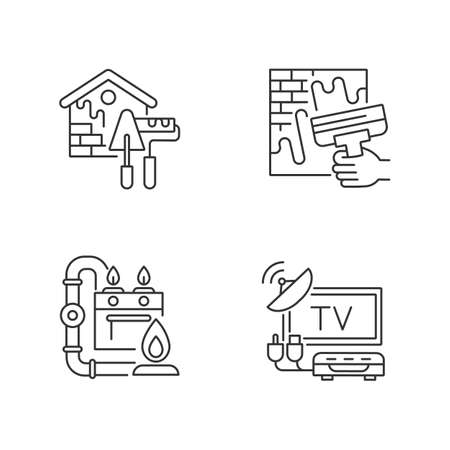 House repairs and facilities linear icons set. External decoration. House decorating and renovating. Gas pipework. Customizable thin line contour symbols. Isolated vector outline illustrations