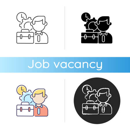Working conditions icon. Linear black and RGB color styles. Corporate recruitment, professional occupation. Business management. Executive manager, office worker isolated vector illustrations
