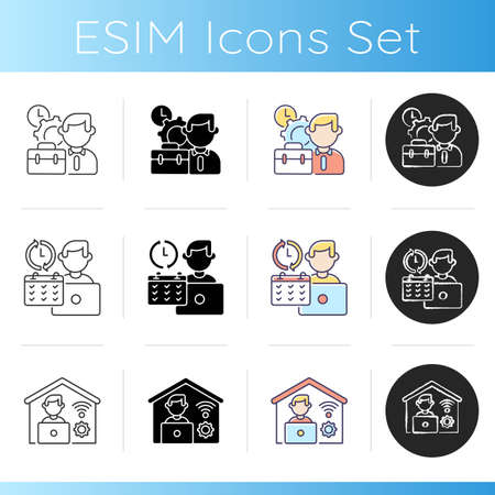 Job vacancy icons set. Linear, black and RGB color styles. Work in company, professional occupation. Corporate employment. Full time job and remote work. Isolated vector illustrations