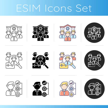 Company employment benefits icons set. Linear, black and RGB color styles. Healthy working conditions, career opportunities. Professional business occupation. Isolated vector illustrations