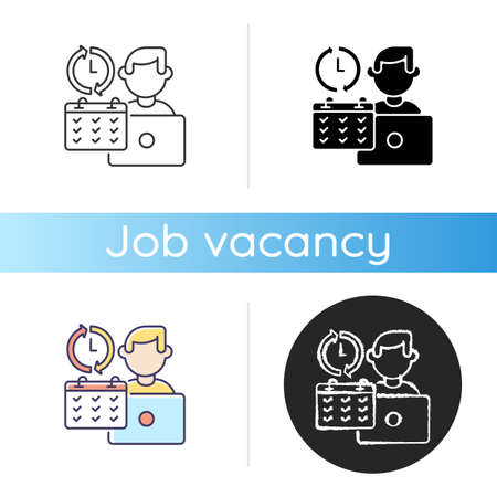 Full time job icon. Linear black and RGB color styles. Work in business company, busy working schedule. Full employment. Corporate office worker with calendar isolated vector illustrations