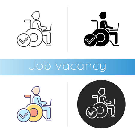 Inclusive job icon. Linear black and RGB color styles. Company recruitment policy, personnel diversity. Healthy working conditions. freelancer in wheelchair isolated vector illustrations