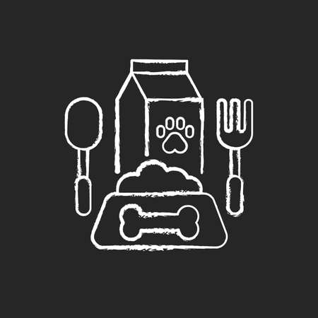 Pet restaurant chalk white icon on black background. Gourmet dinner, healthy and nutrient meals for domestic animals. Dog feeding service. Bowl with dog food isolated vector chalkboard illustration