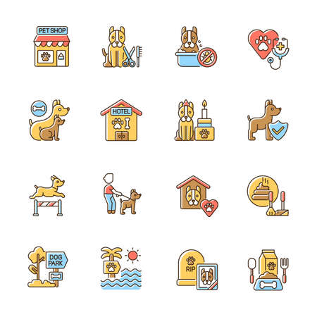 Pet service RGB color icons set. Domestic animal care business. Professional walkers, groomers, trainers and veterinarians assistance. Isolated vector illustrations