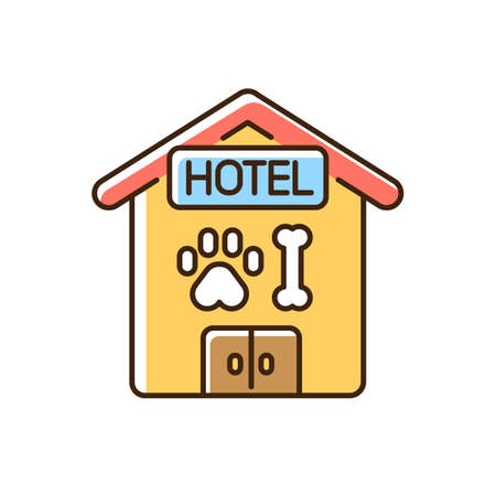 Pet hotel RGB color icon. Providing accommodations and treatment for dogs and cats. Domestic animals overnight sitting service. Isolated vector illustration