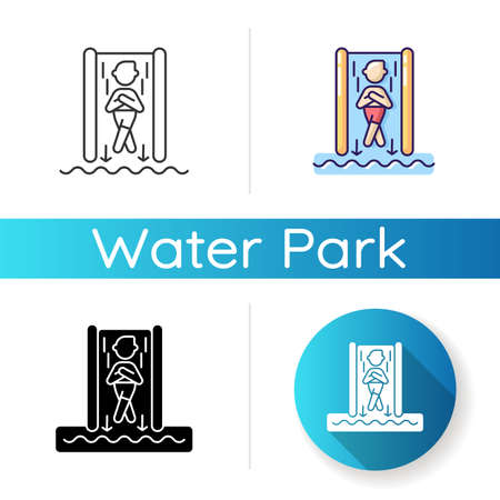 Speed slide icon. Linear black and RGB color styles. Extreme waterslide, aqua park entertainment activity. Summer recreation. Tourist on steep water slide isolated vector illustrations