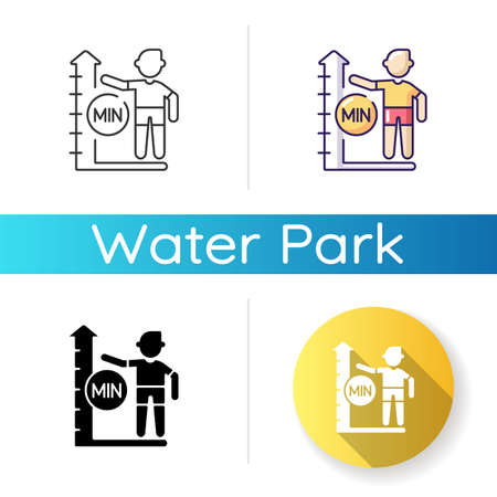 Height limit icon. Linear black and RGB color styles. Waterpark safety policy, amusement park rule. Entertainment attraction, aqua park slide with restriction. Isolated vector illustrations