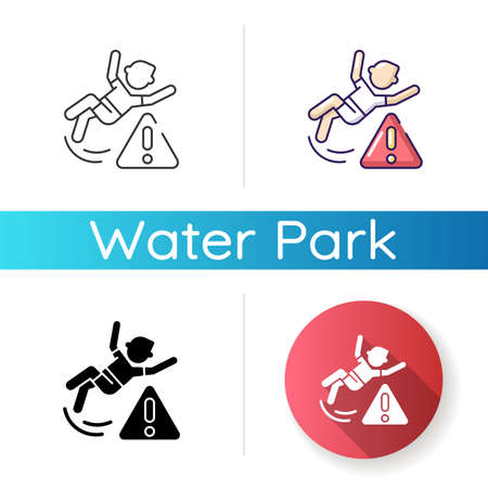Be careful icon. Linear black and RGB color styles. Water park, public places safety rule. Health risk, trauma danger warning. Person slipped, falling on floor isolated vector illustrations 일러스트