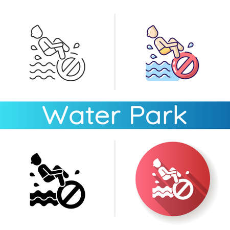 No bomb jumping icon. Linear black and RGB color styles. Waterpark safety regulation, aqua park behaviour rule. Restriction for public swimming pools visitors. Isolated vector illustrations