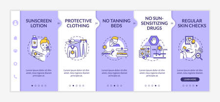 Skin cancer prevention onboarding vector template. Sunscreen lotion. Protective clothing. Responsive mobile website with icons. Webpage walkthrough step screens. RGB color concept Иллюстрация