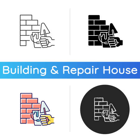 Wall building icon. Bricklaying techniques. Brickwork. Manual work. Redbrick wall. Construction. Building walls outdoor. Linear black and RGB color styles. Isolated vector illustrations
