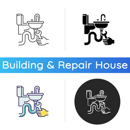 Plumbing installation icon. Home plumbing. Renovation and repair. Toilet and sink installations. Construction process. Linear black and RGB color styles. Isolated vector illustrations