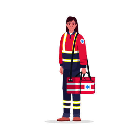 Paramedic semi flat RGB color vector illustration. Emergency medical technician. Health professional. Hispanic lady working as EMT with medical bag isolated cartoon character on white background