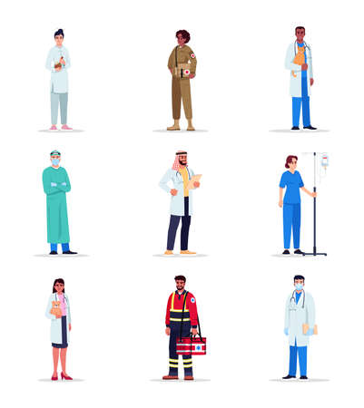 Doctors semi flat RGB color vector illustration set. Pediatrician. Veterinary surgeon. Nurse with intravenous pole. Advanced practitioners isolated cartoon character on white background collection Stockfoto - 154386750