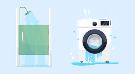 Bathroom furniture semi flat RGB color vector illustration set. Bath equipment. Out-of-service washing machine, shower cabin with flowing water isolated cartoon objects collection on blue background