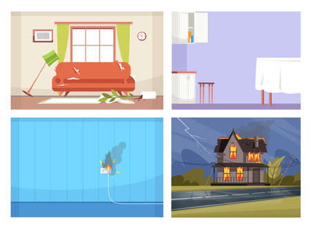 Common house accidents semi flat vector illustration set. Faulty wiring, open kitchen wall cabinet, messy living room, house on fire 2D cartoon scenes collection for commercial use
