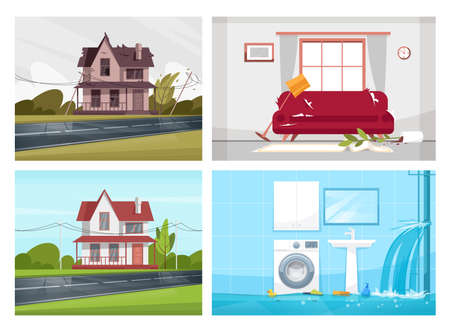 Usual household incidents semi flat vector illustration set. House before reconstruction. New living space design. Messy living room, flooded bathroom 2D cartoon scenes collection for commercial use