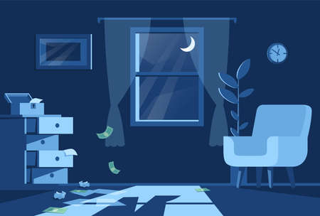 Living room night view semi flat vector illustration. Green bills float in air, open cupboard, lonely armchair, criminal shadow in moon lighting 2D cartoon scene for commercial use Vecteurs