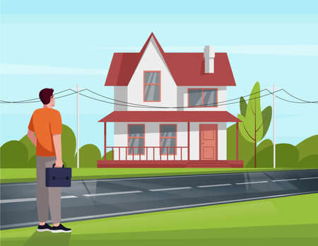 Man delighted by renovated house with new windows semi flat vector illustration. Cozy and welcoming two-storied building. Nice weather. Green bright environment 2D cartoon scene for commercial use