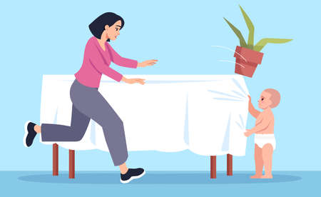Curious toddler pulls tablecloth with flower semi flat vector illustration. Mother runs to help. Accidental childhood injuries semi flat vector illustration 2D chartoon characters for commercial use