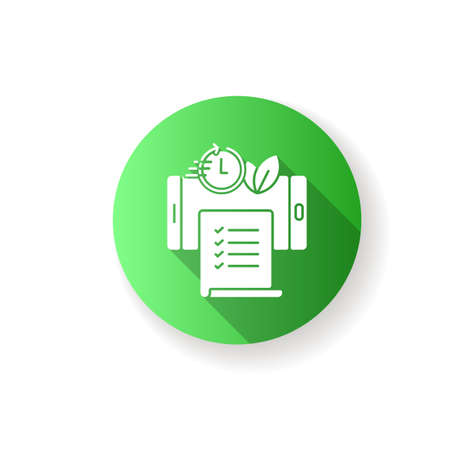 Paperless statements flat design long shadow glyph icon. Electronic bill. Online document on smartphone screen. E wallet, financial application. Silhouette RGB color illustration