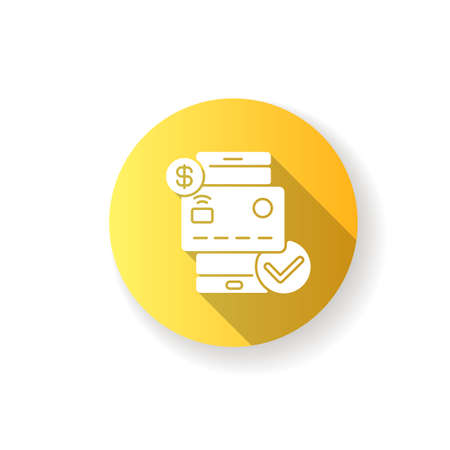 Check balances flat design long shadow glyph icon. E wallet application. Mobile banking app using. Credit card payment confirmation. Successful e payment. Silhouette RGB color illustration