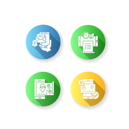 Mobile bank service app flat design long shadow glyph icons set. ATMs map. Email alert. Paperless statements. Check balances. Silhouette RGB color illustration