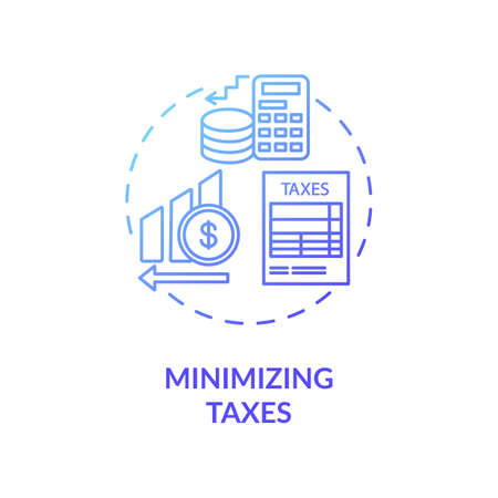 Minimizing taxes concept icon. Business management, investment tips idea thin line illustration. Financial literacy, decreasing tax fees. Vector isolated outline RGB color drawing
