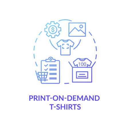 Print on demand T shirts concept icon. Fashion marketplace, online business idea thin line illustration. Customizable clothing service. Vector isolated outline RGB color drawing