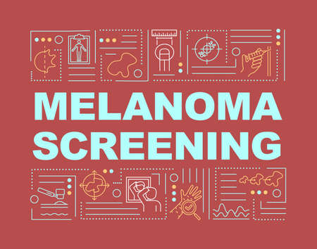 Melanoma screening word concepts banner. ABCDE warning sign. Carcinoma diagnostics. Infographics with linear icons on red background. Isolated typography. Vector outline RGB color illustration Иллюстрация