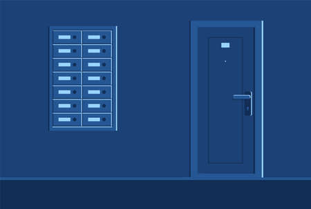 Well-equipped residential building dark corridor semi flat vector illustration. Night time. Empty mailboxes. Ordinary apartment door with number plate 2D cartoon scene for commercial use