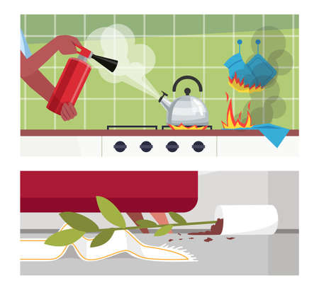 Disastrous home occurrences semi flat vector illustration set. Woman with fire-extinguisher, boiling kettle, burned potholders, fallen flower pot 2D cartoon scenes collection for commercial use