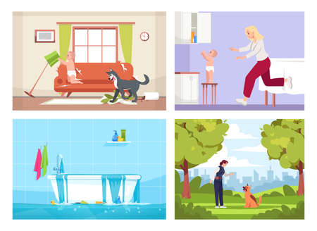 Household occurrences semi flat vector illustration set. Naughty dog and child in messy living room, flooded bathroom, woman trains dog 2D cartoon characters collection for commercial use