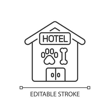 Pet hotel linear icon. Providing accommodations for pets. Animals overnight sitting service thin line customizable illustration. Contour symbol. Vector isolated outline drawing. Editable stroke