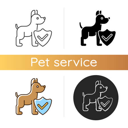 Pet insurance icon. Linear black and RGB color styles. Offering healthcare plans for domestic animals. Professional legal service. Dog welfare protection. Isolated vector illustrations